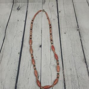 AVENUE ORANGE MARBLED BEAD NECKLACE